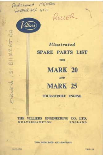 Villiers Mk 20 & 25 Four Stroke Engine Parts Manual
